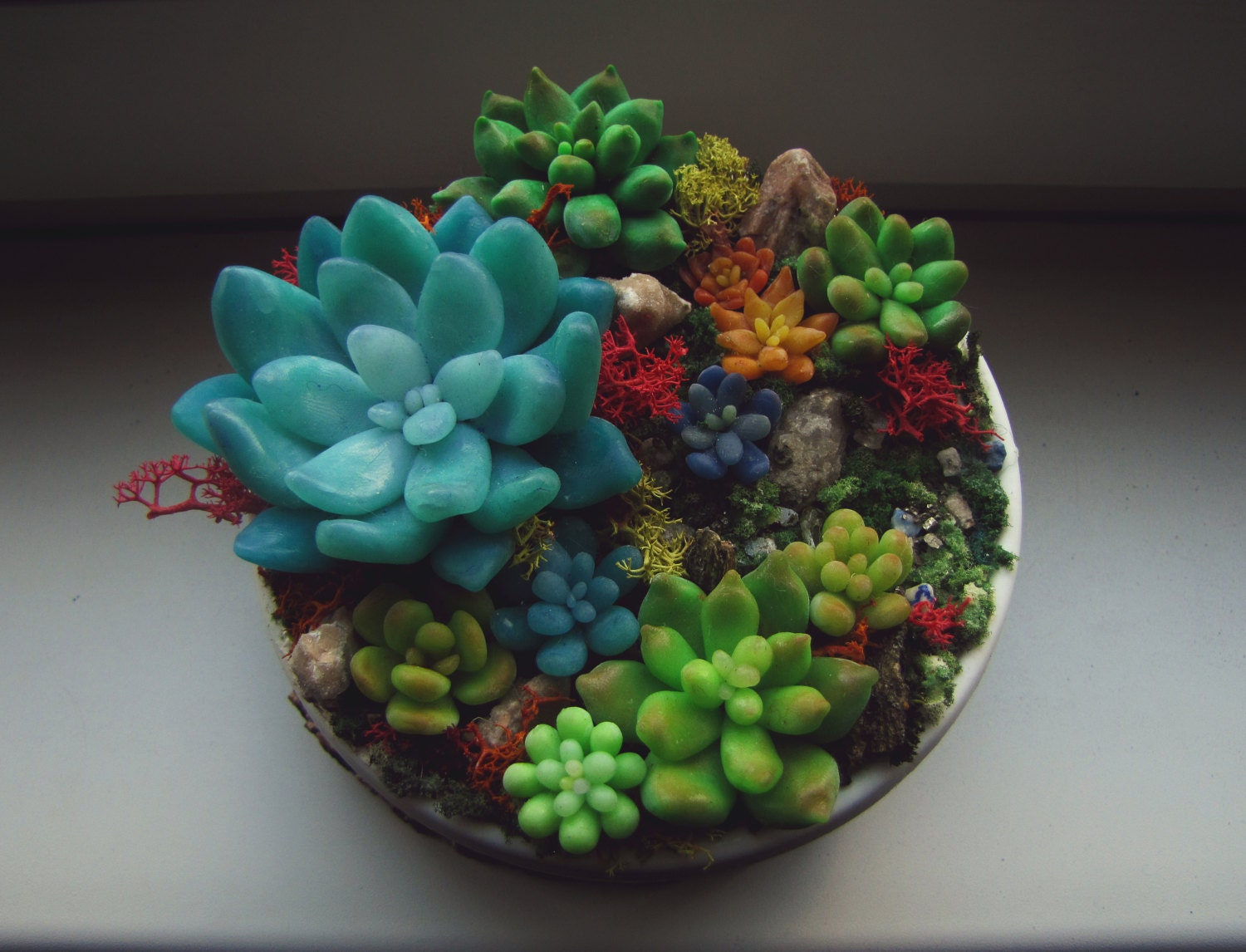 Pot with succulents polymer clay flowers colorful plants Colorful pots for indoor plants