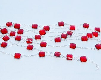 "2 Metres(6'6"" ) Long Silver Plated Chain With Faceted Red Color Glass Beads For Necklace or Bracelet Design"