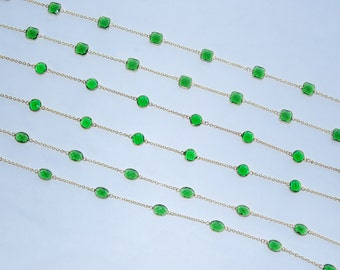 "Gold Plated Chain With Faceted green Color Glass Beads For Necklace or Bracelet Design 2 Metres(6'6"" ) Long"