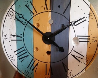 Wire Spool Wall Clock | Roman Numerals | 32 in | Wall Decoration