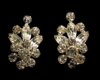 Vintage Rhinestone Earrings With Screw Backs