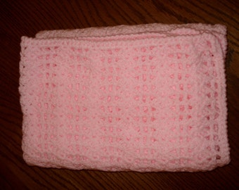 Baby Pink Crocheted Cot Blanket
