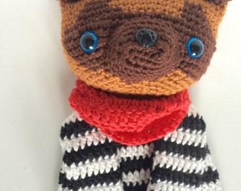 Crochet Dog, Rag Doll, Amigurumi, Lovey, Baby Gift, Present, Bandana, Stripes, dog lover, pet lover, Collectible
