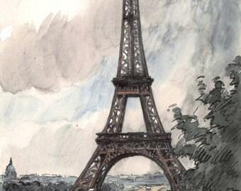 Eiffel Tower vintage watercolor