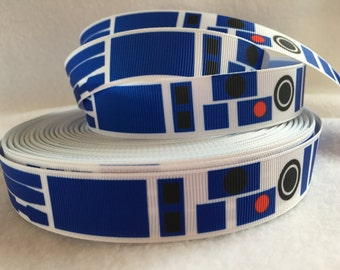 Star Wars Ribbon, R2D2 Ribbon, Grosgrain Ribbon, Cute Ribbon, Cartoon Ribbon, Hairbows, Scrapbooking Embellishment, Robot Ribbon, Space