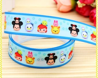 Tsum Tsum Ribbon, Grosgrain Ribbon, Cute Ribbon, Cartoon Ribbon, Hairbows, Scrapbooking Embellishment, Tsum 3
