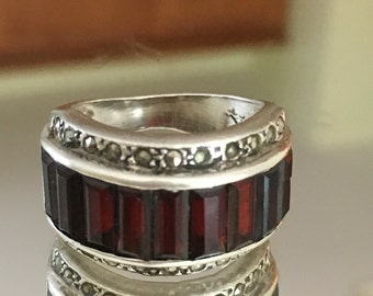 Heavy Sterling, Marcasite & Garnet Ring