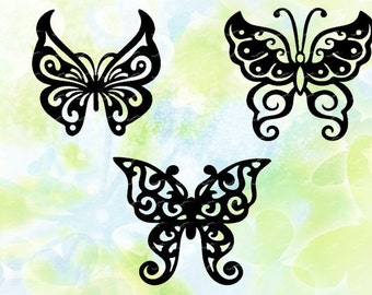 3 butterfly svg, dxf, eps, studio v3, jpeg, png, file for Silhouette Cameo, Curio, cutting machines, instant download