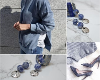 Antique silver coin sodalite earrings, 925 Silver dangle earrings, boho/ bohemian earrings, tribal ethnic gypsy earrings, 925 silver jewelry