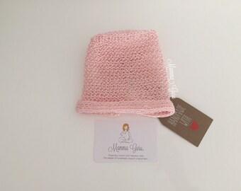 100% Cotton crochet infant Bonnet Pink