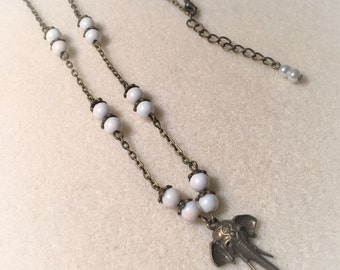 """Necklace """"White and bronze elephant"""""""