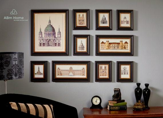 Photo frame set set of 10 vintage photo frame collection for Cadre multi photos mural