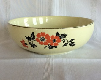 Vintage Art Deco Hall pottery Poppy pattern salad bowl serving kitchen ware dish 1940