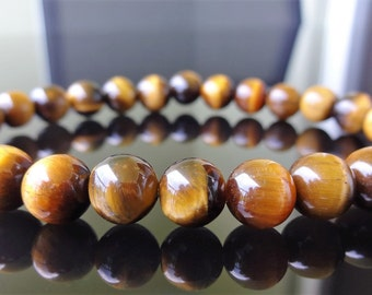Genuine Yellow TIGER EYE Bead Bracelet for Men or Women (On Stretch) 8mm - AAA Quality