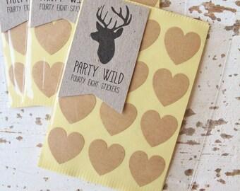 Mini Heart Stickers Pk48 - Kraft Brown