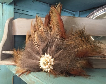 Natural Feather Hairpiece - Barrett - Feather Hair Clip