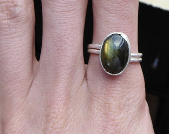 Fine Silver Ring with Labradorite