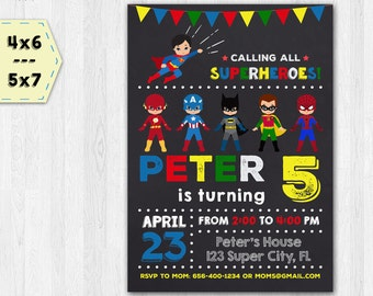 Superheroes invitation - Superheroes birthday invitation - Superheroes chalkboard invitation - Party invitation