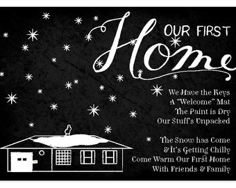 Our First Home - Winter Housewarming Party Invitation - Custom Illustration of House - *Digital Download PDF*