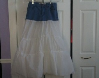 Upcycled blue jean and white skirt