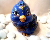 Blue baby bird,Acrylic handpaint- vintage  little blue pottery  bird handpainted by me, funny, modernist ceramic figure, cartoon figure