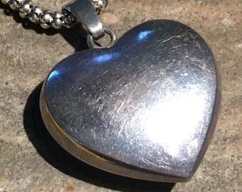Vintage JONDELL Sterling Silver Huge Puff Heart Pendant