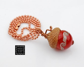 Red Glass Acorn Necklace