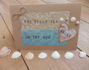 Handmade 'she sells sea shells on the sea shore' greeting card, seashell card, beach themed card, seashell collectors card