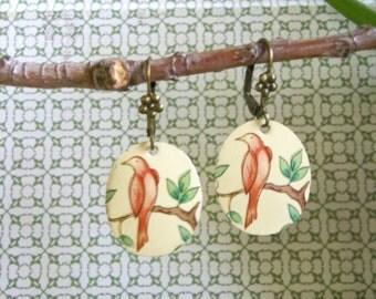 Vintage Tin Bird Earrings