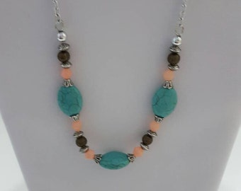 Turquoise, coral and silver necklace