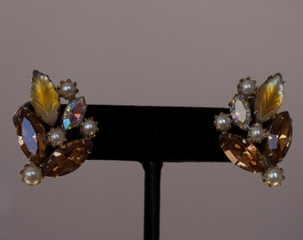 Vintage Kramer Rhinestone and Pearl Earrings - Signed