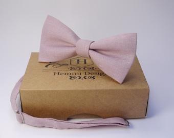 Light Pink Bow Tie for wedding / linen bow tie for men / pink necktie / bow tie for baby / pink boy's bow tie, pink men's necktie