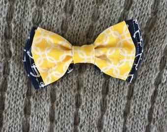 Nautical Navy and Yellow Bow