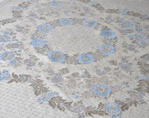 1960s tablecloth fine brocade & damask vintage exquisite stitchings blue flowers cream floral