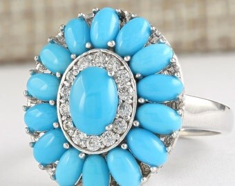 3.63 Natural Turquoise and Diamond Coctail  Ring In 14k yellow Gold