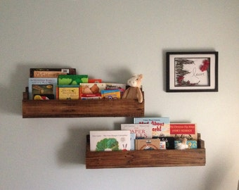 Upcycled wall mounted wood shelves