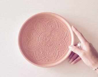 concrete medallion dish | pink | plate | catchall | decorative tray | platter