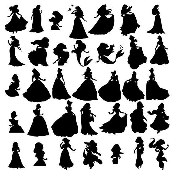 disney princess svg disney princess eps disney princess silhouette disney princess silhouette files cutting filesinstant download