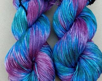 Dark Jewel- Hand dyed yarn, sock weight, Superwash Merino, 463 yards,