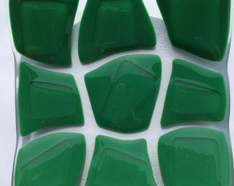 Green tortoise pattern fused glass bowl
