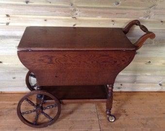 Oak Tea/Serving Trolley with Wagon Wheels