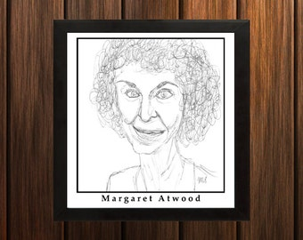 Margaret Atwood - Sketch Print - 8.5x9 inches - Black and White - Pen - Caricature Poster