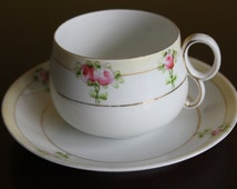 Vintage pre-1920s Hand Painted Nippon Bone China Teacup and Saucer in Pale Yellow and Pink Roses, So Shabby Chic!