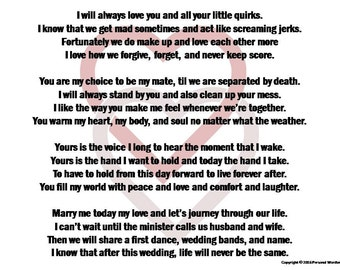 Funny Wedding Vows Digital Print Marriage Poem Download Spoof Rehearsal
