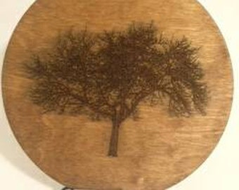 Laser etched tree. 9 inches tall