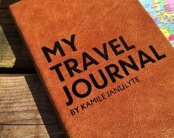 Travel Journal - personalised leather Journal - graduation / travel / promotion / mindfulness luxury notebook - perfect for celebrations.