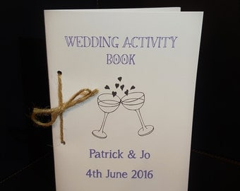 Personalised Wedding Children's Activity Book with Crayon A5
