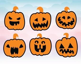 Pumpkin faces clipart, pumpkin svg, Halloween clipart, fall svg, halloween cut files, Halloween kids party