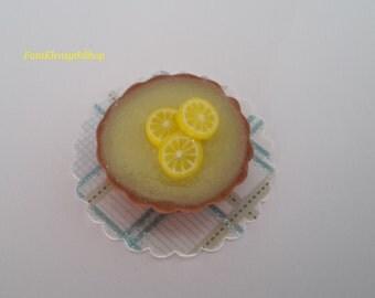 Lemon tart 1:12 scale miniature, doll house, fairy house, fairy garden