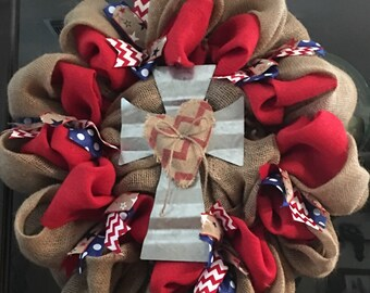FREE SHIPPING on thisTin cross wreath